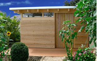 schickes gartenhaus aus trespa. Black Bedroom Furniture Sets. Home Design Ideas